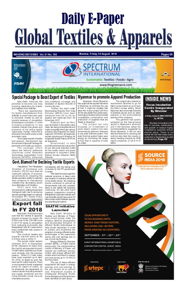Global Textiles & Apparels - Daily E-Paper Global Textiles & Apparels E-PAPER - (03 August 20