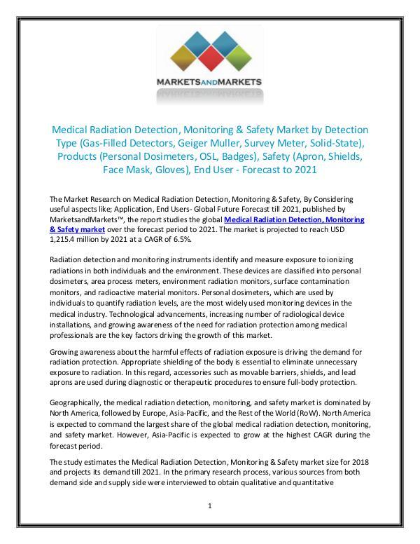 Medical Radiation Detection, Monitoring & Safety Market size 2021 JULY 2018