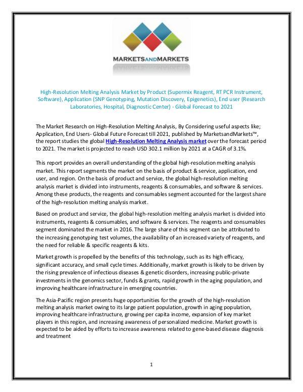 High-Resolution Melting Analysis Market size, Growth, Forecast 2021 JULY 2018