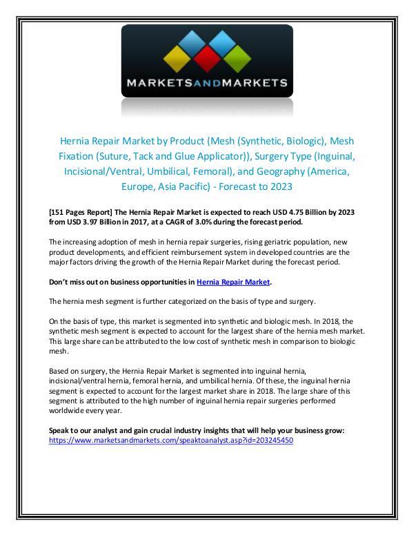 Hernia Repair Market - Forecast to 2023 Hernia Repair Market