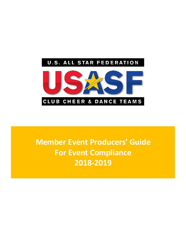Member Event Producer Guide For Event Compliance 2018-2019 Volume 1