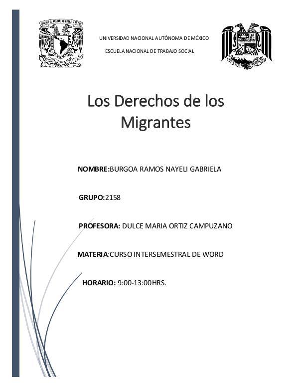 Derechos de los migrantes Proyecto. Migracion Nayeli Burgoa