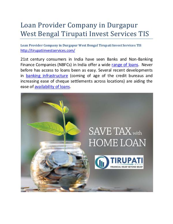 Loan Provider Company in Durgapur West Bengal Tirupati Invest Service Loan Provider Company in Durgapur West Bengal Tiru