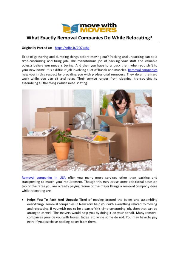Move with Mover is one of the best Removal Companies for Relocating What Exactly Removal Companies Do While Relocating