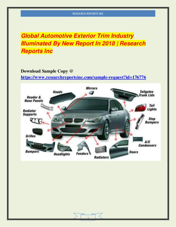 Automotive Industry Research Reports Global Automotive Exterior Trim Industry 2018
