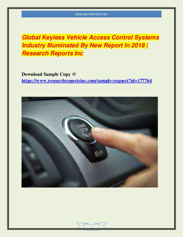 Automotive Industry Research Reports Global Keyless Vehicle Access Control Systems Indu