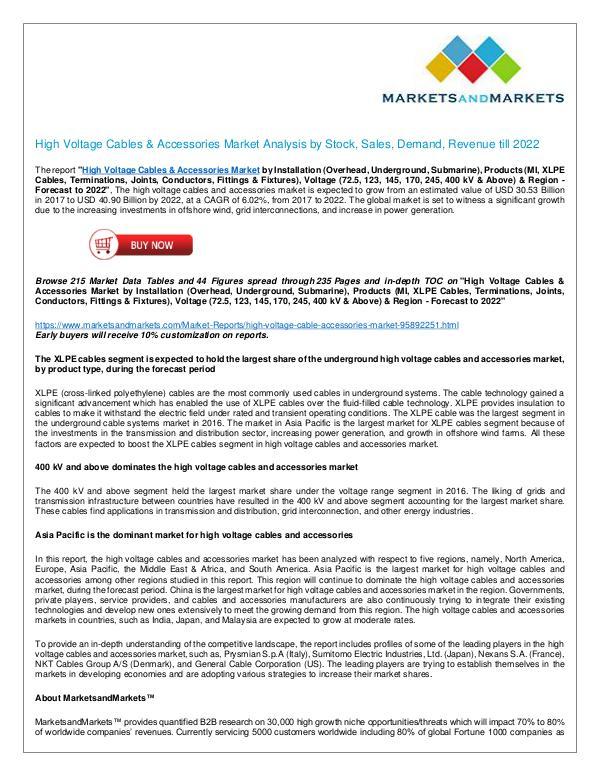 High Voltage Cables & Accessories Market