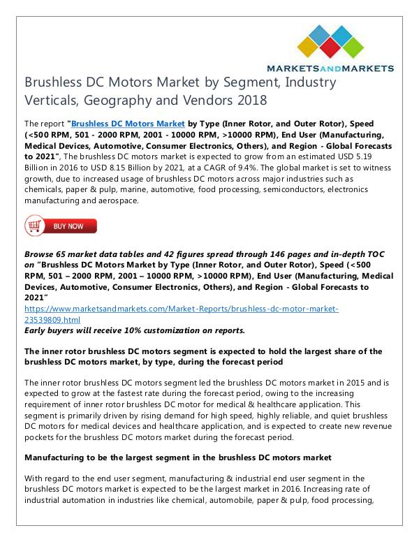 Brushless DC Motors Market