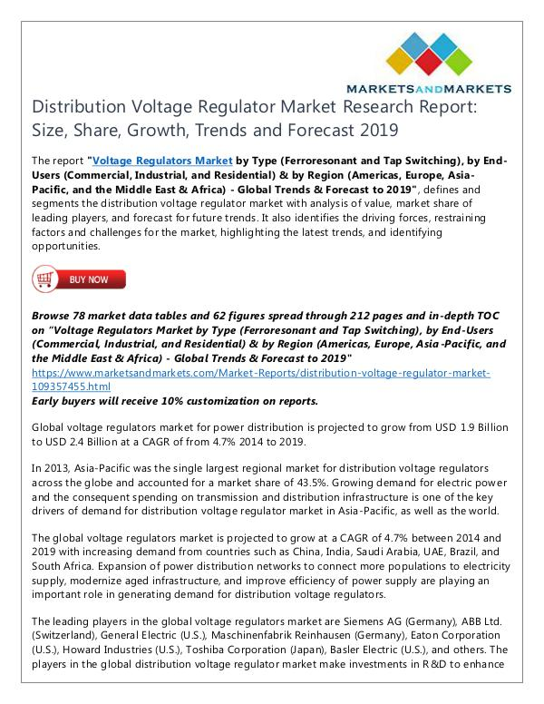 Distribution Voltage Regulator Market