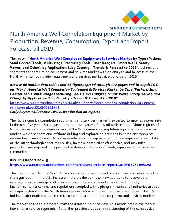 Energy and Power North America Well Completion Equipment Market