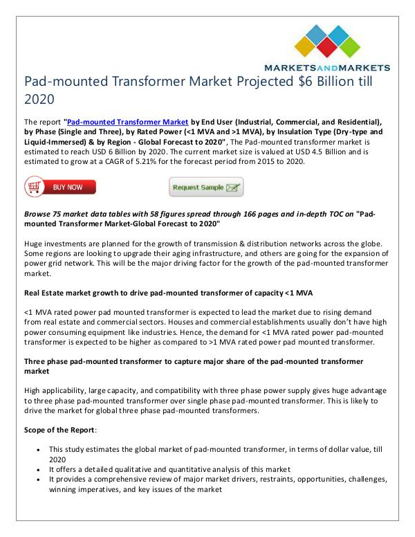 Energy and Power Pad-mounted Transformer Market