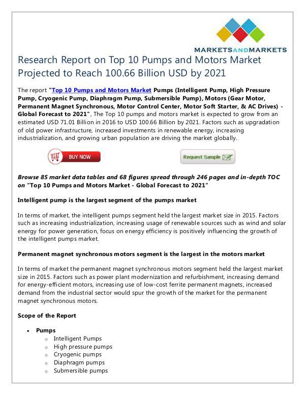 Top 10 Pumps and Motors Market