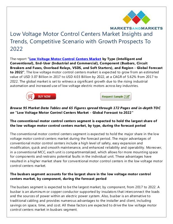 Energy and Power Low Voltage Motor Control Centers Market