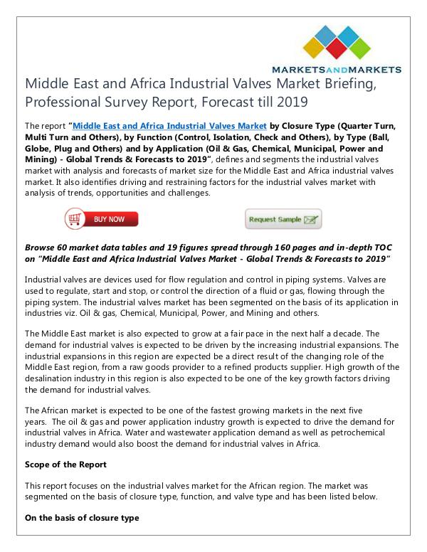Energy and Power Middle East and Africa Industrial Valves Market