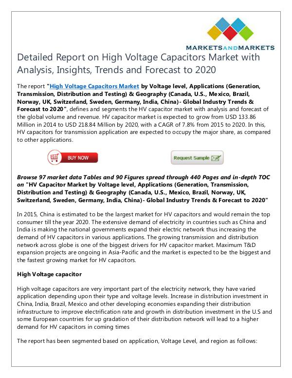 Energy and Power High Voltage Capacitors Market