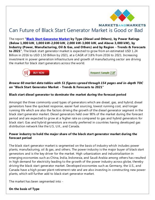 Energy and Power Black Start Generator Market