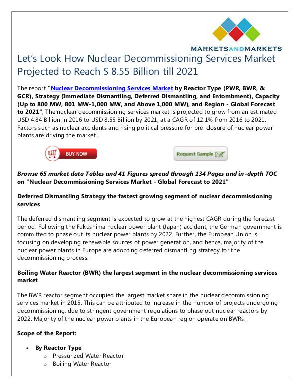 Nuclear Decommissioning Services Market