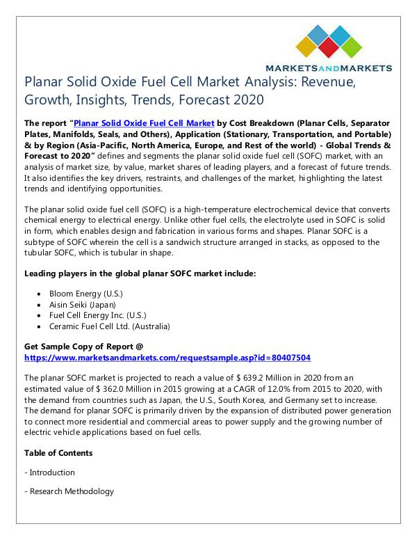 Energy and Power Planar Solid Oxide Fuel Cell Market