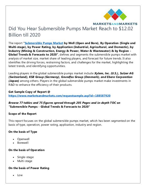 Submersible Pumps Market