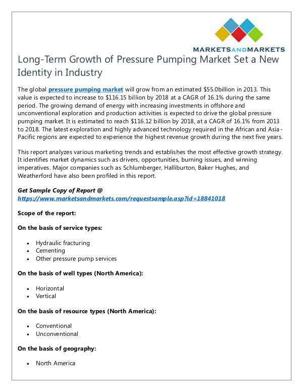 Energy and Power Pressure Pumping Market