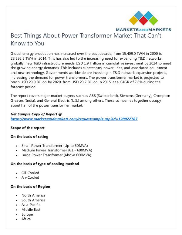 Energy and Power Power Transformer Market