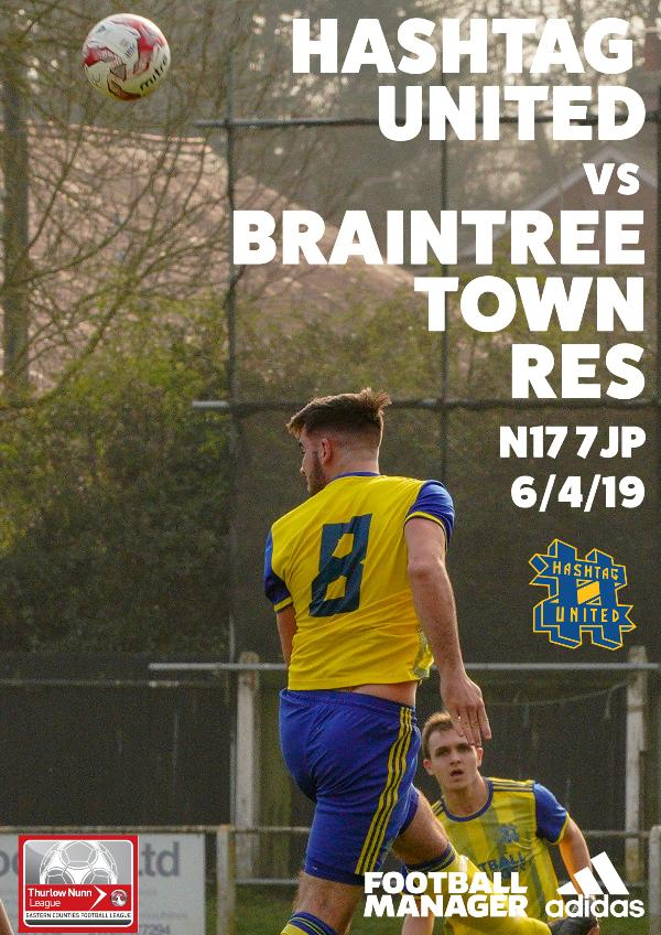 Hashtag United match day programmes v Braintree Town Res