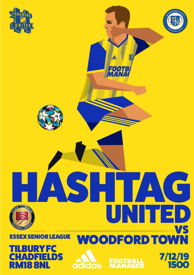 Hashtag United match day programmes v Woodford Town FC