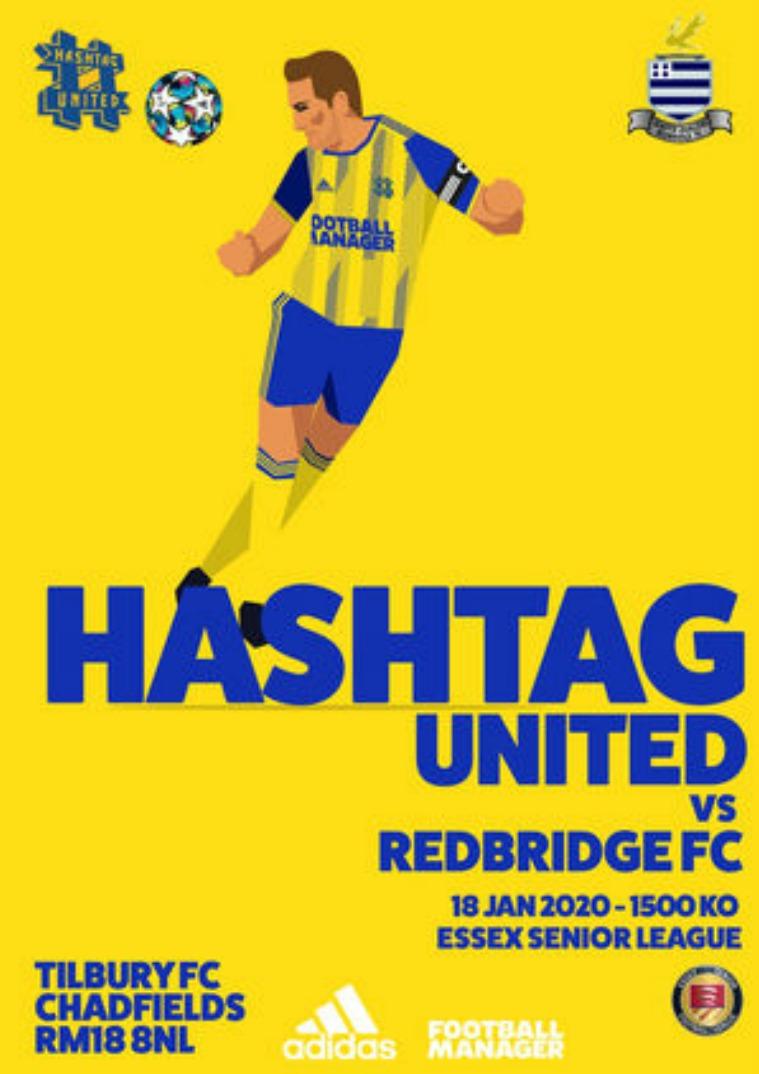 Hashtag United match day programmes v Redbridge FC
