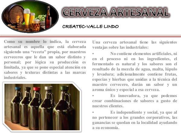 """""""Elaboración de Cerveza Artesanal para la Venta de al Mayor"""" Cerveza Artesanal Createc-Valle Lindo"""