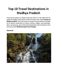 Top 10 Travel Destinations in Madhya Pradesh