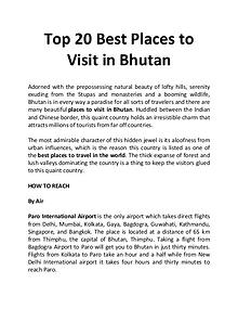 Top 20 Best Places to Visit in Bhutan
