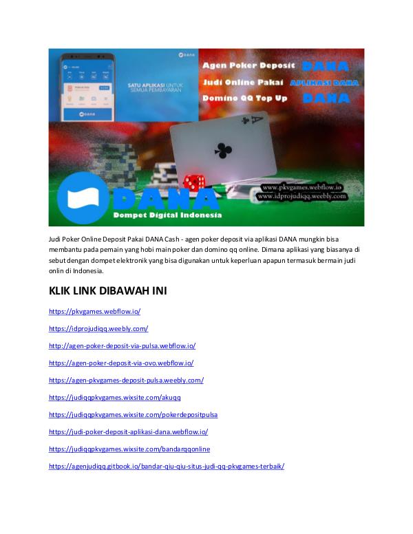 Judi Poker Online Deposit Pakai DANA Cash Situs Domino QQ Via DANA Cash
