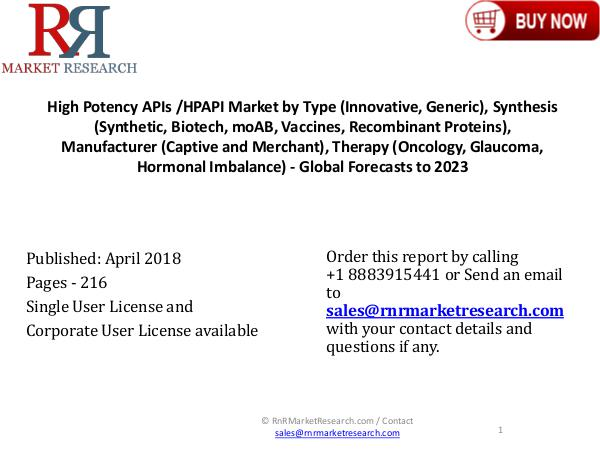 High Potency APIs Market Global Research & Analysis Report 2023 High Potency APIs HPAPI Market