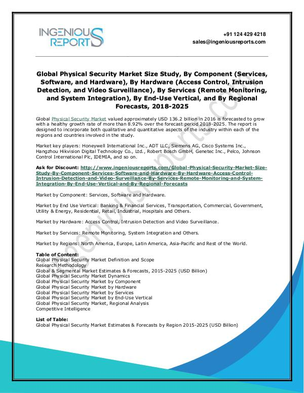 Global Physical Security Market - Growth, Size and Analysis by 2025 Global Physical Security Market