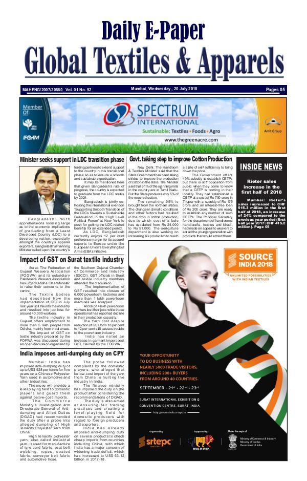 Global Textiles & Apparels Global Textiles & Apparels E-PAPER - (20 July 2018
