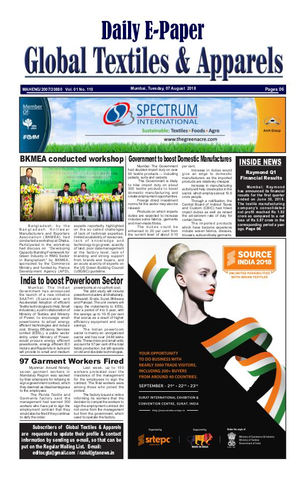Global Textiles & Apparels - Daily E-Paper Global Textiles & Apparels E-PAPER - (07 August 20
